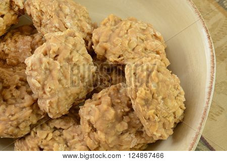Close up of peanut butter oatmeal cookies in bowl