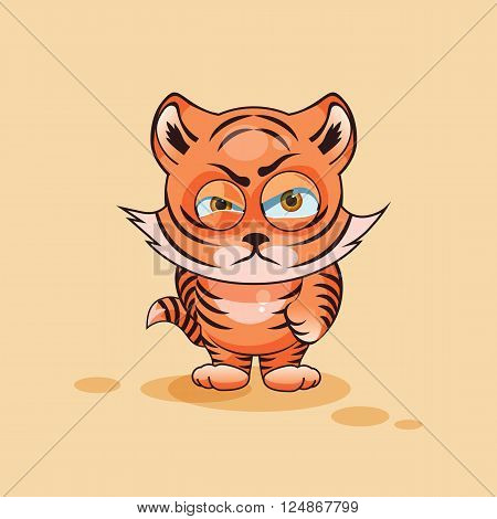 Vector Stock Illustration isolated Emoji character cartoon Tiger cub sticker emoticon with angry emotion for site, infographics, video, animation, websites, e-mails, newsletters, reports, comics