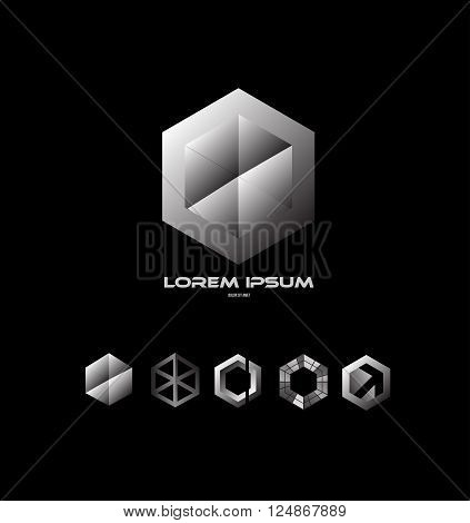 Vector company logo icon element template black white grey polygon hexagon