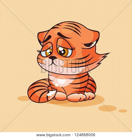 Vector Stock Illustration isolated Emoji character cartoon Tiger cub sad and frustrated sticker emoticon for site, infographics, video, animation, websites, e-mails, newsletters, reports, comics