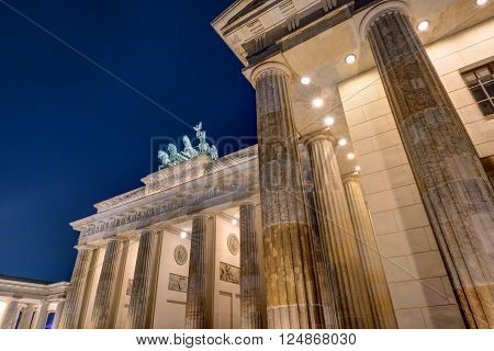 Detail of the Brandenburger Tor in Berlin at night