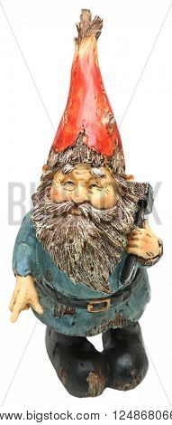 Adorable Lawn Gnome with Hammer over white.