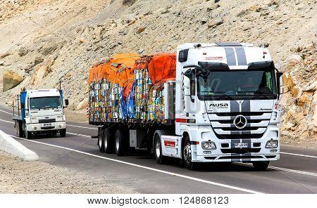 ATACAMA CHILE - NOVEMBER 14 2015: Semi-trailer truck Mercedes-Benz Actros at the interurban road.