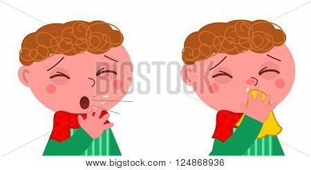 Sick boy with cough and cold vector illustration