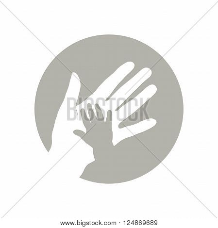 Child's hand with mother's hand. Vector illustration.