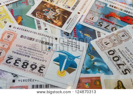 MADRID SPAIN - MARCH 29 2016: Spanish national lottery receipts. Spanish national lottery distributes many cash prizes especially at Christmas time. First prize is called Gordo