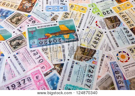 MADRID SPAIN - MARCH 29 2016: Spanish national lottery receipts. National lottery is known in Spain as Loteria Nacional