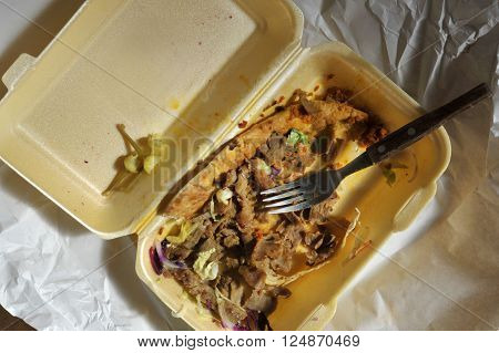 Left over remains of doner kebab take away food from the night before.
