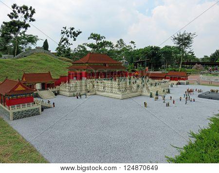 JOHOR MALAYSIA  - NOVEMBER 11:  The Forbidden City and Great Wall, China LEGOLAND MINILAND Malaysia Theme Park November 11, 2014  in Johor, Malaysia
