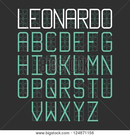 Thin modern font Leonardo. Vector.