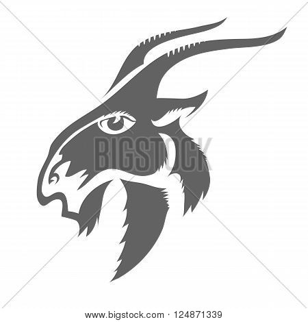 Head of Horned Goat Isolated on White Background. Grey Silhouette of Goat