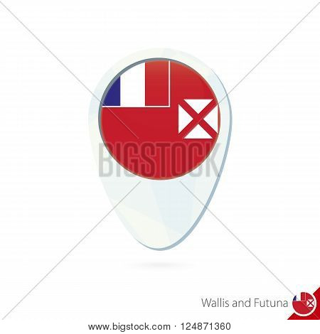 Wallis And Futuna Flag Location Map Pin Icon On White Background.