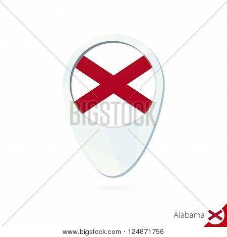 Usa State Alabama Flag Location Map Pin Icon On White Background.