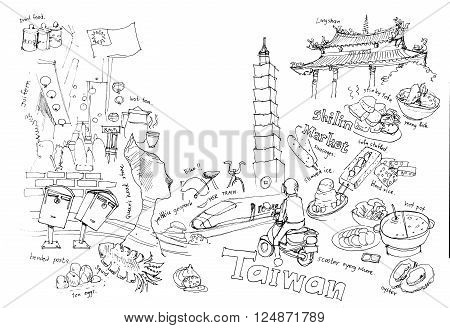 Travel to Taiwan illustration drawing landmarks and food