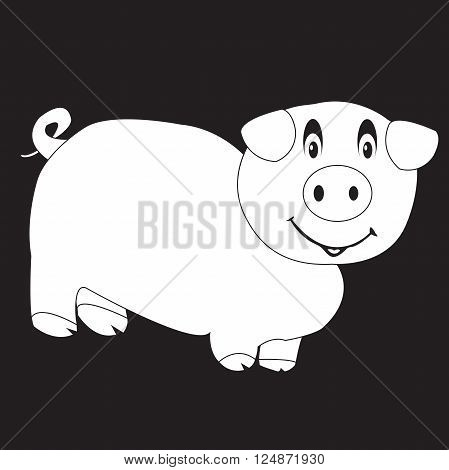 stencil funny pig on a black background