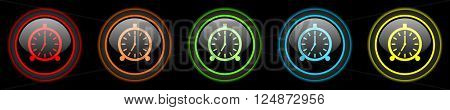 alarm colored web icons set on black background