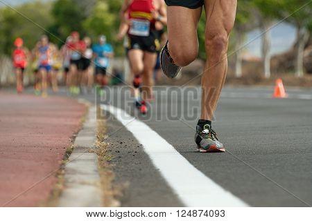 Marathon runners,Marathon running in the morning light