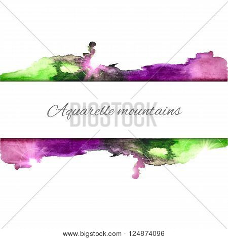 Vector watercolor splash background. Colorful vector frame. Watercolor texture. Vector handmade elements. Vintage frame. Green and blue blot. Sign board. Watercolor stamp.