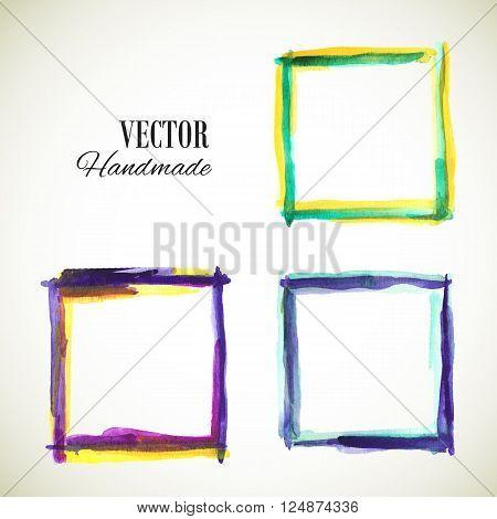 Vector watercolor handmade frame. Vector mark. Vector colorful vintage frame. Watercolor frame. Hand drawn label. Vector violet blue template. Vector texture frame.