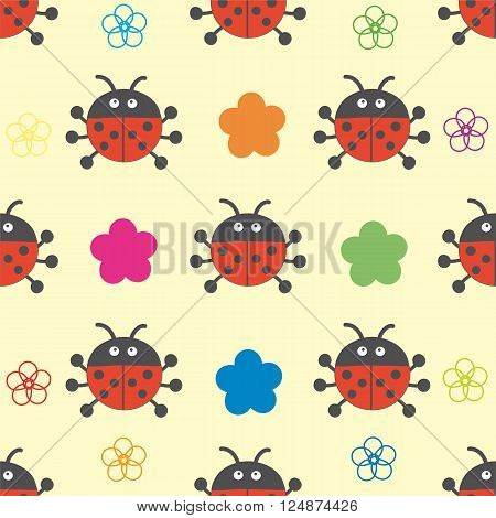 Vector illustration. Seamless pattern of ladybugs and flowers.