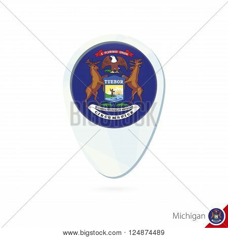 Usa State Michigan Flag Location Map Pin Icon On White Background.