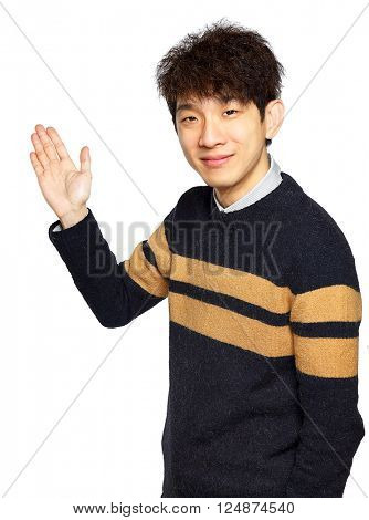 Asian young business man hold show open empty palm, happy smile, concept of advertisement product, empty copy space wear sweaters isolated over white background