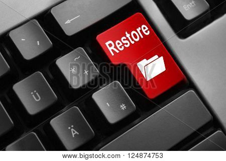 dark grey keyboard red button restore folder online 3D Illustration