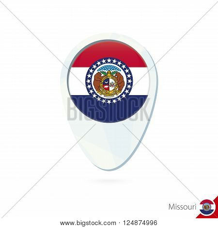 Usa State Missouri Flag Location Map Pin Icon On White Background.