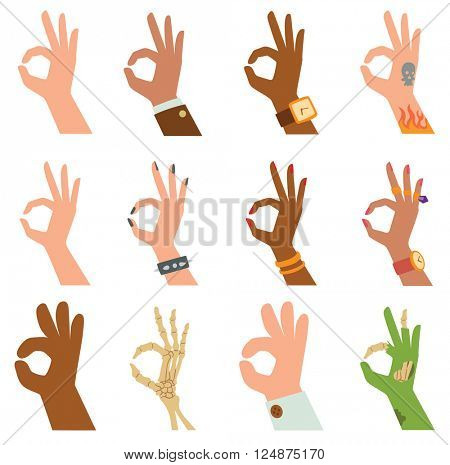 Silhouette hands showing symbol of all ok finger thumb vector illustration.
