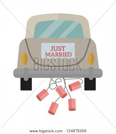 Vintage wedding car with just married sign and cans attached flat vector illustration.