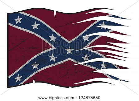 A wavy torn and grunged Confederate flag isolated on a white background