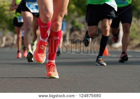 Marathon runners.Marathon running in the morning light