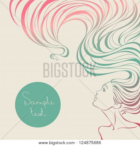Card For Beauty Salon With  Beautiful Girl With Long Wavy Hair