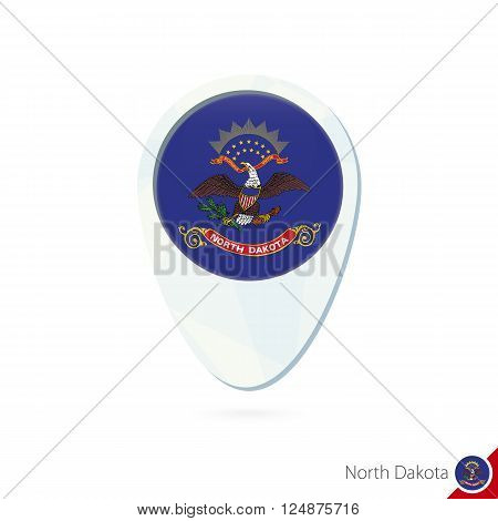 Usa State North Dakota Flag Location Map Pin Icon On White Background.