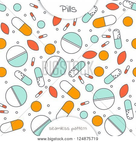 Seamless pattern of flat line icon of different pills. The pattern on the medical theme. Vector illustration in outline style isolated on white background. Different pills in flat style