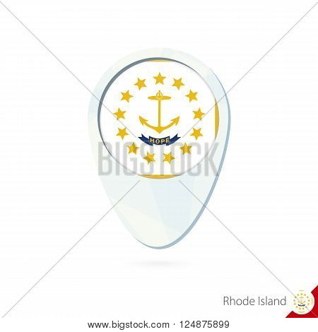 Usa State Rhode Island Flag Location Map Pin Icon On White Background.