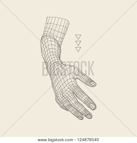 Human Arm. Human Hand Model. Hand Scanning. 3D Geometric Design. 3d Covering Skin. Polygonal Design. Can be used for science, technology, medicine, hi-tech, sci-fi.
