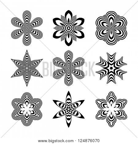 Abstract Design Elements. Optical Art. Vector illustration.