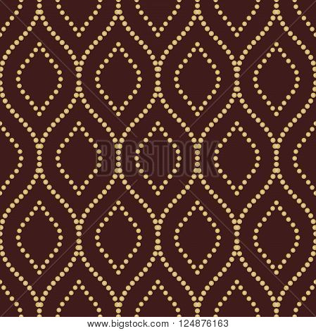 Seamless vector ornament. Modern geometric pattern with repeating golden dotted wavy lines