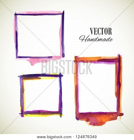 Vector watercolor handmade frame. Vector mark. Vector colorful vintage frame. Watercolor frame. Hand drawn label. Vector violet blue yellow template. Vector texture frame.