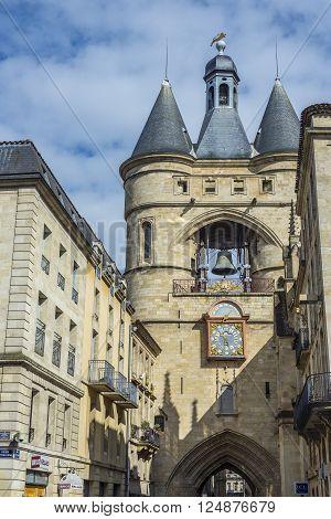 Bordeaux France - March 26 2016. Typical street of Bordeaux with Eglise catholique Saint-Eloi church in background. Bordeaux Aquitaine. France.