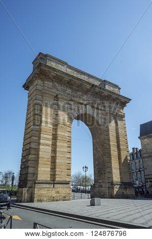 Bordeaux France - March 26 2016. Porte de Bourgogne gate view from Place Bir Hakeim. Bordeaux Aquitaine. France.