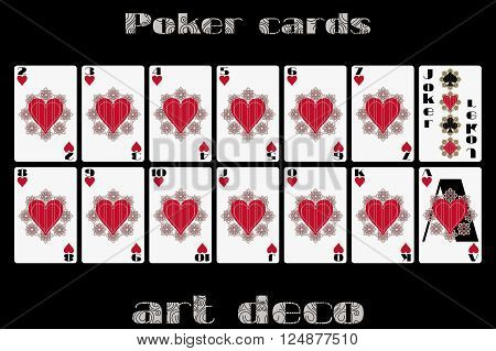 Playing Cards Heart Suit. Poker Cards In The Art Deco Style. Vector.