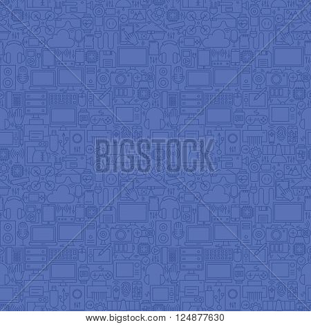 Thin Line Blue Gadgets And Devices Seamless Pattern