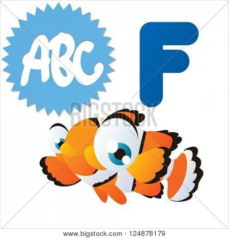Super funny extra cute animal kids. Animal ABC series. Collectible collection for children games. Letter F  is for Fish