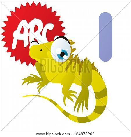 Super funny extra cute animal kids. Animal ABC series. Collectible collection for children games. Letter I  is for Iguana