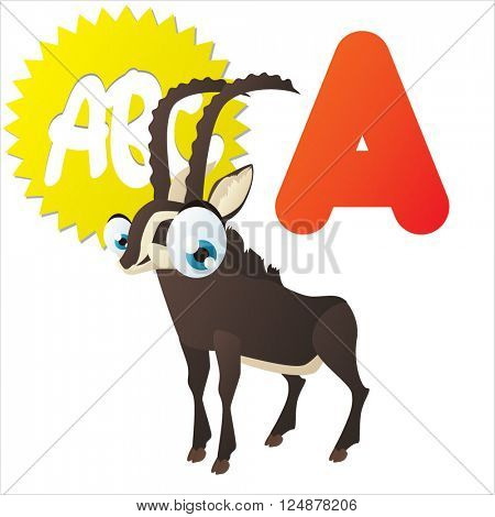Super funny extra cute animal kids. Animal ABC series. Collectible collection for children games. Letter A  is for Antelope