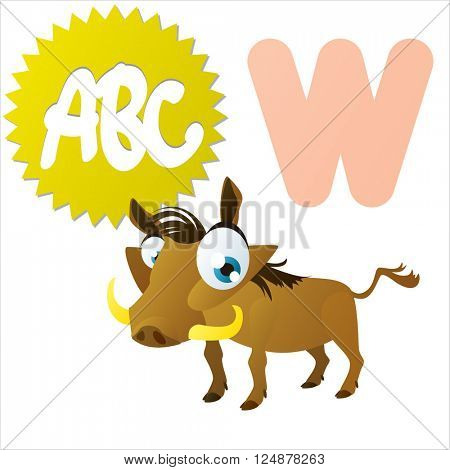 Super funny extra cute animal kids. Animal ABC series. Collectible collection for children games. Letter W  is for Warthog