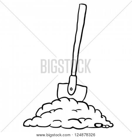 black and white shovel in dirt cartoon