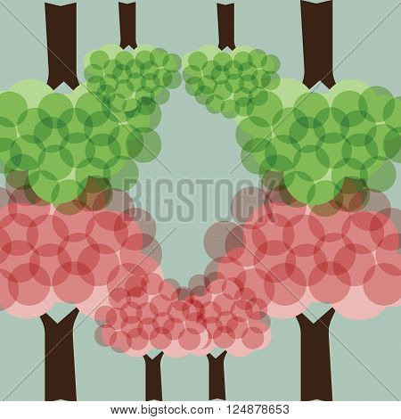 Tree with pink cherryblossom and green in spring season with bubble-like style with the green upside down vector illustration